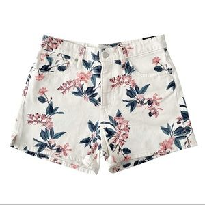 Lucky Brand Lucky Pins White Floral Denim Shorts